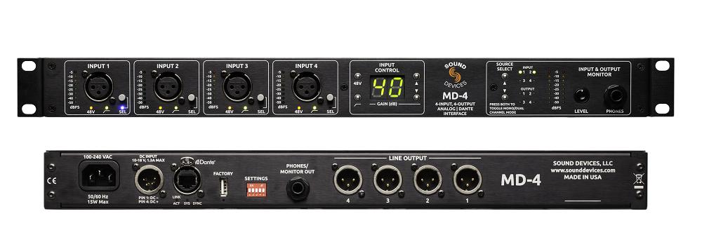 MD-4 4x4 Analog-na-Dante sučelje sa mogućnošću monitoriranja ulaza i izlaza za slušalice