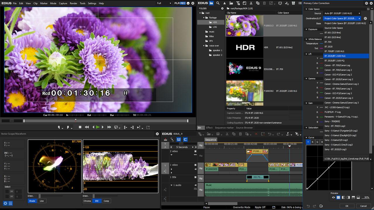 Edius 9 HDR HLG Workflow